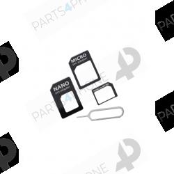 Autres accessoires-Adaptateur pour sim (set de 3 pièces : sim, micro sim, nano sim + 1 extracteur de carte sim)-